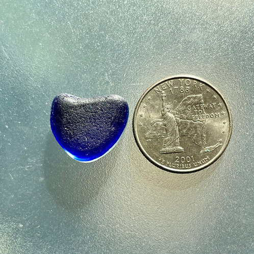 Genuine Cobalt Blue English Heart Shaped Sea Glass End of Day #19