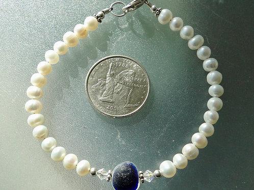 Freshwater Pearl Sterling Silver Blue English Sea Glass Bracelet #8