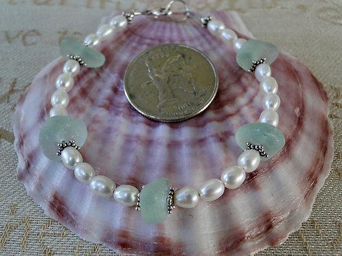 Freshwater Pearl Sterling Silver Seafoam Sea Glass Bracelet #10