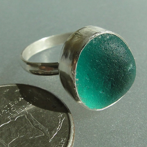 Sterling Silver Turquoise Bezel English Sea Glass Ring #5 Size 7