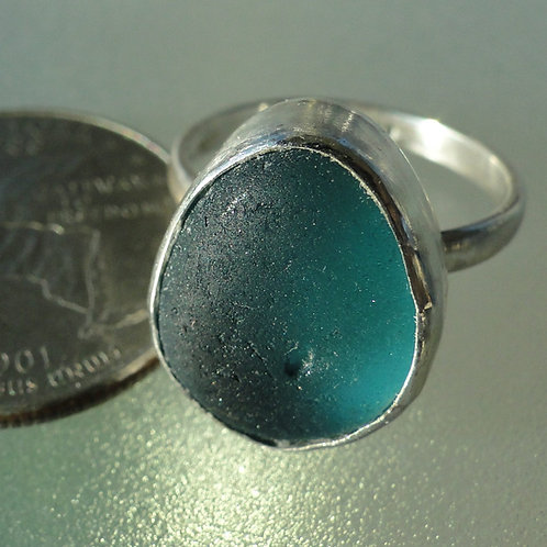 Sterling Silver Turquoise Bezel English Sea Glass Ring #4 Size 8