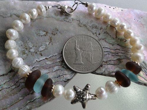 Freshwater Pearl Karen Hill Tribe Sterling Silver Sea Glass Bracelet #5