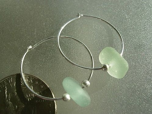 Sterling Silver Seafoam Hoop Sea Glass Earrings #15
