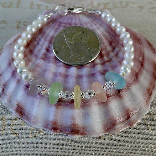 Freshwater Pearl Sterling Silver Multi Pastel Sea Glass Bracelet #4