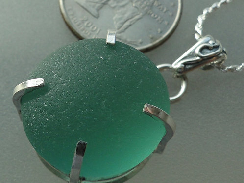Sterling Silver Prong Set Teal Sea Glass Necklace #7