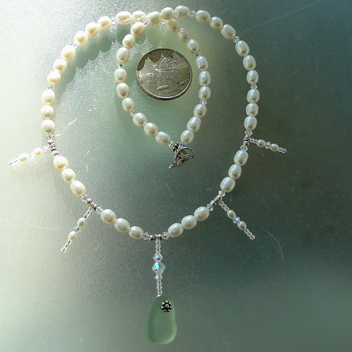 Freshwater Pearl Sterling Silver Seafoam Sea Glass Necklace #11
