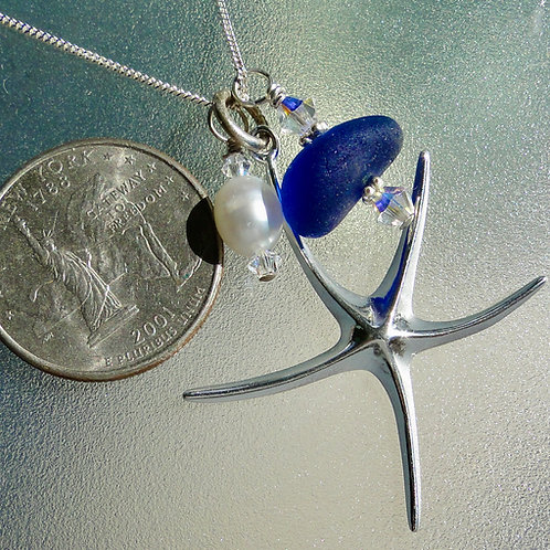 Sterling Silver Starfish Pearl Blue Sea Glass Necklace #9
