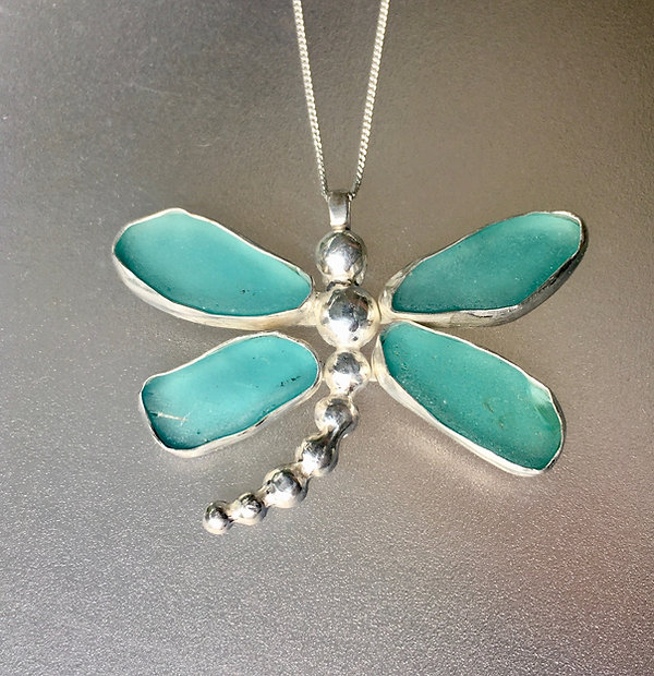 Turquoise sea glass dragonfly necklace