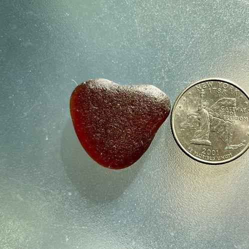 Genuine Brown Heart Shaped Sea Glass #60
