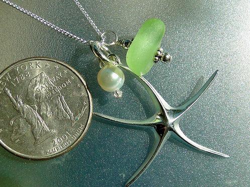 Sterling Silver Starfish Pearl UV Sea Glass Necklace #18