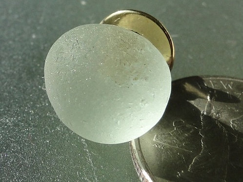 Gold Filled Mens White Sea Glass Tie Tack #9