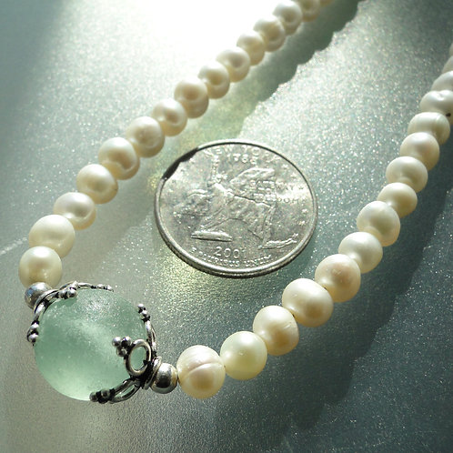 Freshwater Pearl Sterling Silver Seafoam Marble Sea Glass Necklace #1