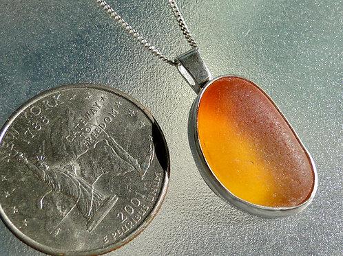Bright Orange Bezel Set English Sea Glass Necklace