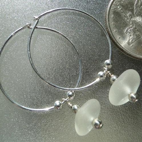 Sterling Silver White Hoop Sea Glass Earrings #4