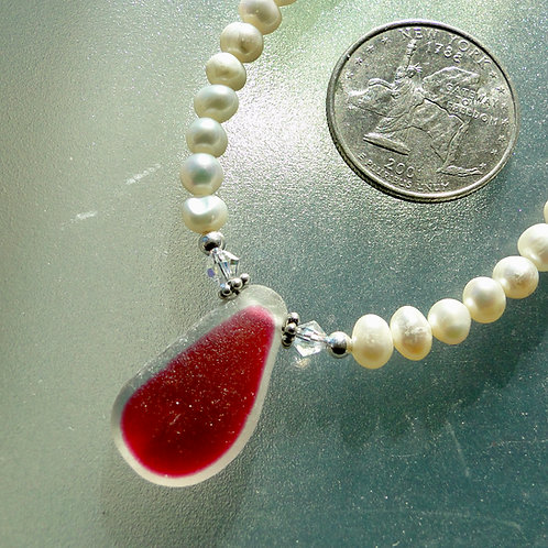 Freshwater Pearl Sterling Silver Pink English Sea Glass Necklace #5