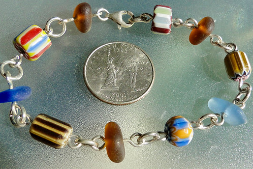 Sterling Silver Blue Brown Sea Glass Bracelet with Millefiori Beads #3