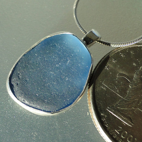 Baby Blue Bezel Set English Sea Glass Necklace
