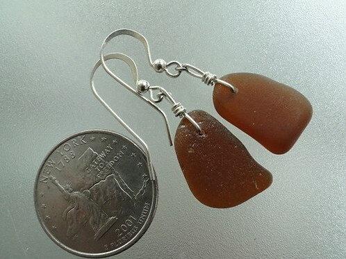 Autumn Brown Sea Glass Earrings #4