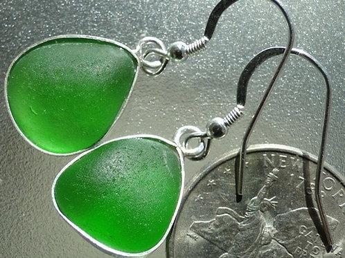 Bezel Set Kelly Green Sea Glass Earrings #8