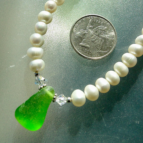 Freshwater Pearl Sterling Silver Green Sea Glass Necklace #8