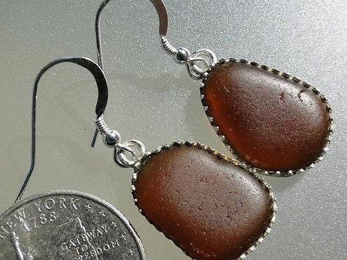Bezel Set Brown Sea Glass Earrings #5