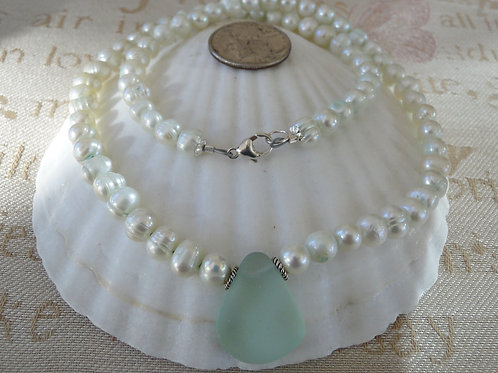 Freshwater Pearl Sterling Silver Seafoam Sea Glass Necklace #17