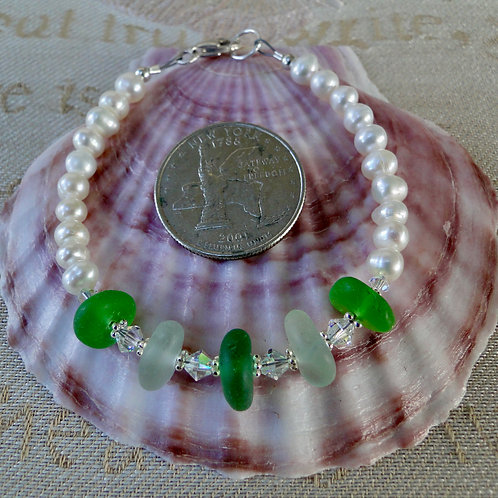 Freshwater Pearl Sterling Silver Seafoam Green Sea Glass Bracelet #5