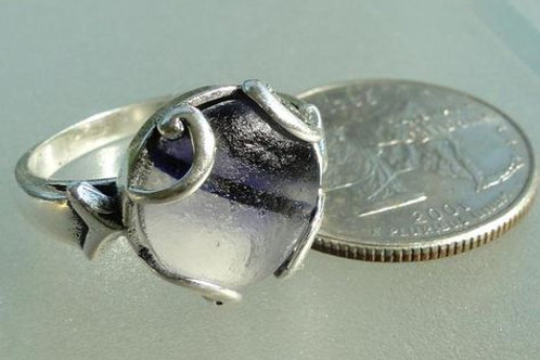 Sterling Silver Purple English Prong Set English Sea Glass Ring #9 Size 8