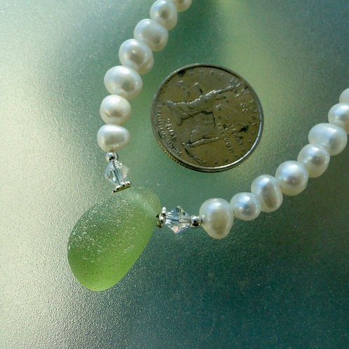 Freshwater Pearl Sterling Silver Olive English Sea Glass Necklace #23