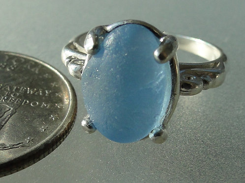 Sterling Silver Baby Blue Prong Set English Sea Glass Ring #3 Size 8 1/4