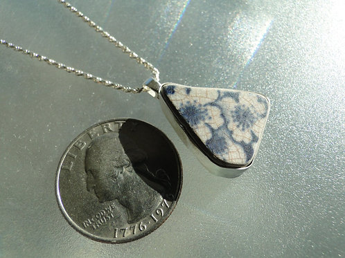 Pottery Bezel Set English Sea Glass Necklace