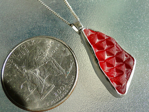 Bright Red Bezel Set English Sea Glass Necklace Car Tail Light