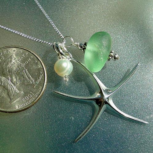 Sterling Silver Starfish Pearl Seafoam Sea Glass Necklace #16