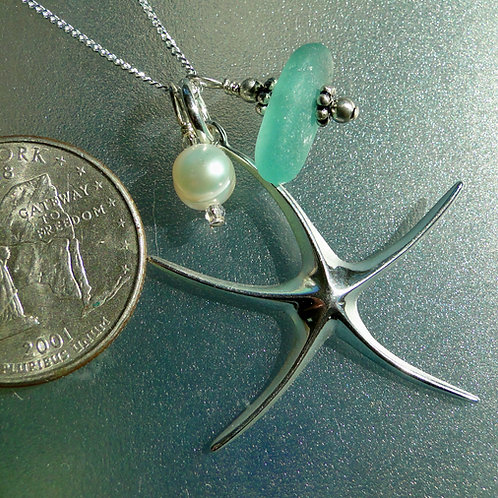 Sterling Silver Starfish Pearl Turquoise Sea Glass Necklace #19