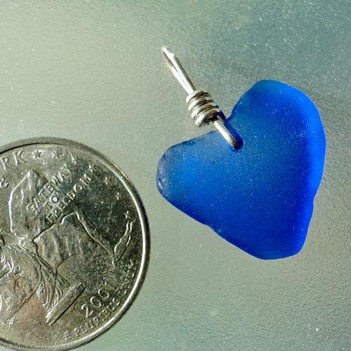 Genuine Heart Shaped Sea Glass Cobalt Blue Pendant #10