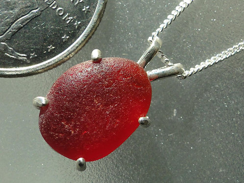 Sterling Silver Prong Set Red Sea Glass Necklace #4