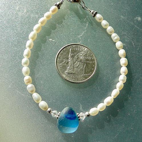 Freshwater Pearl Sterling Silver Blue English Sea Glass Bracelet #1