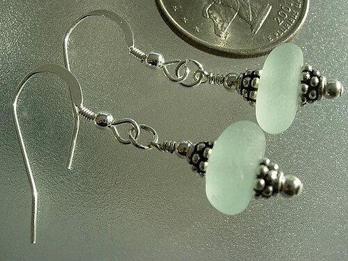 Drop Seafoam Sea Glass Earrings #3