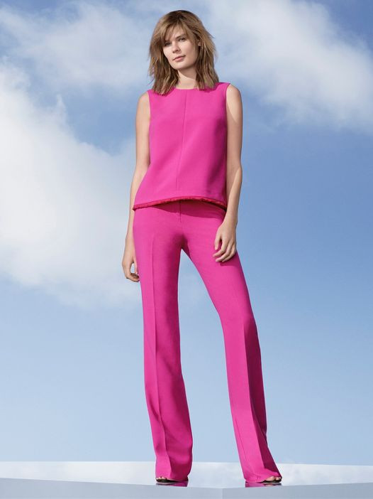 Pop Floral - Women's Fuchsia Twill Tank Top & Twill Flared Trouser - Victoria Beckham for Target