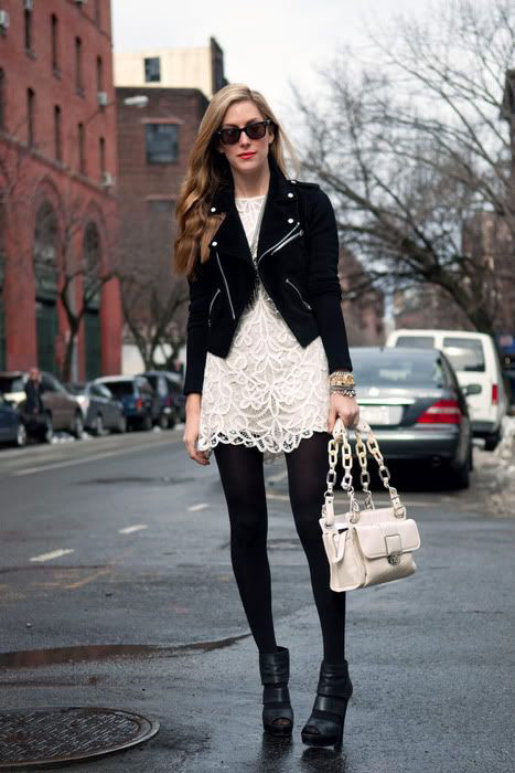 Layered Lace Dress with Tights and Leather Jacket