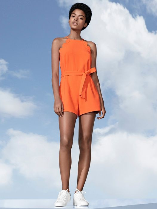Circus Scallops - Women's Orange Scallop Tie Waist Romper - Victoria Beckham for Target