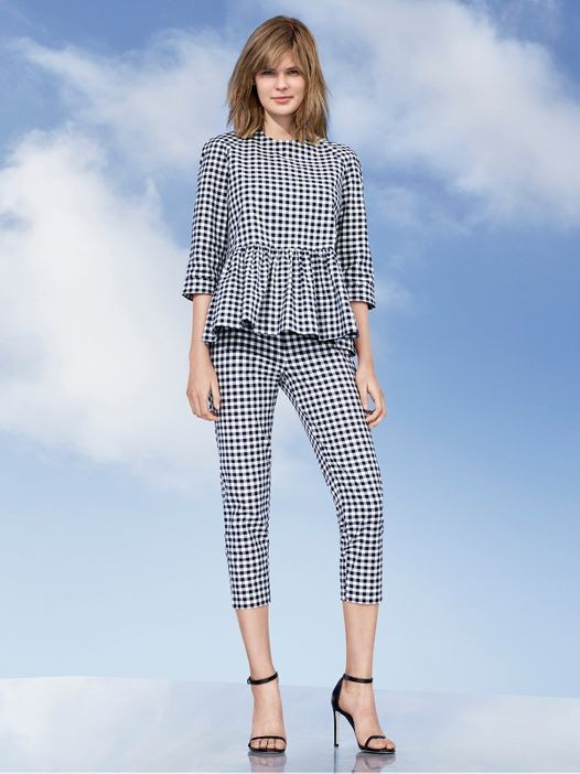 Clever Bunny - Women's Blue and White Gingham Twill Peplum Blouse & Twill Pants - Victoria Beckham for Target