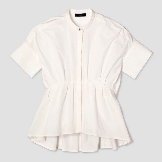 English Lace - Women's White Poplin Gathered Waist Top - Victoria Beckham for Target