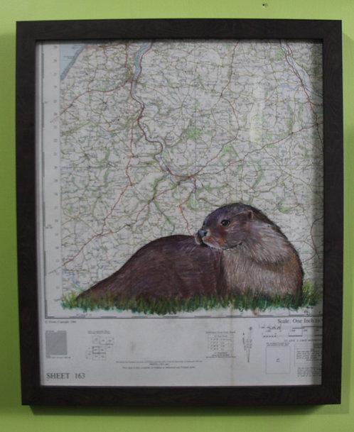 Otter on vintage map of Devon