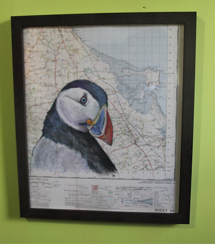 Puffin on Vintage Map (Northumberland coast)