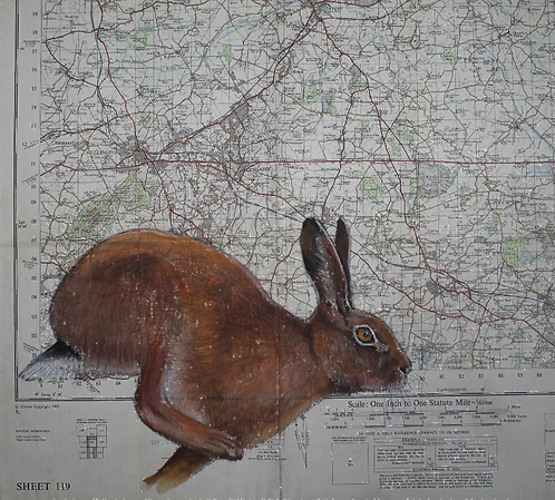 Running Hare on Vintage Map