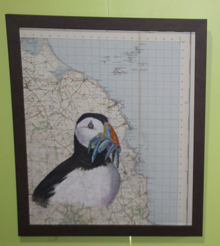 Puffin on vintage map of Northumberland Coast (Farne Islands)