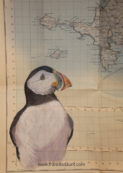 Puffin on 1952 cloth map of Skomer
