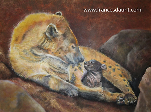Beauty Or The Beast? Oil painting of Hyena mother and cub