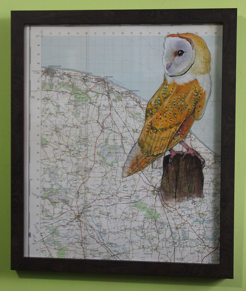Barn Owl on vintage map of the Norfolk Coast